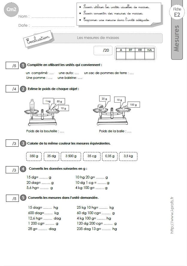 cm2: Evaluation sur les MESURES de MASSES