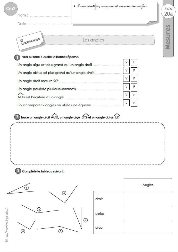 Cm2 Exercices Mesurer Et Comparer Les Angles