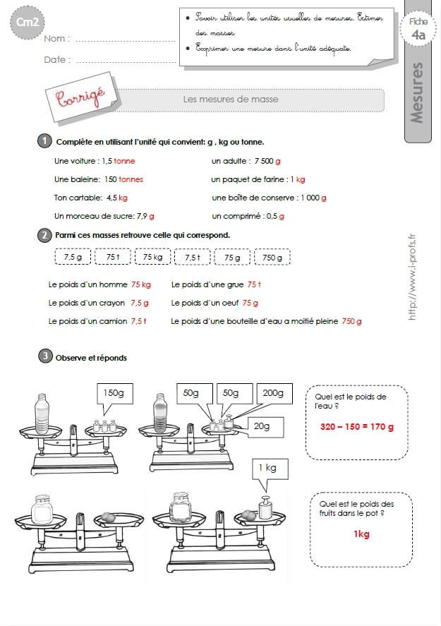 Cm2 Exercices Les Mesures De Masses
