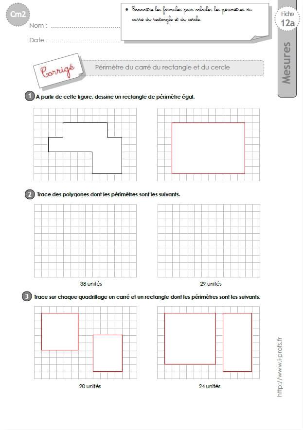 cm2: Exercices Calculer le PERIMETRE du CARRE du RECTANGLE et du CERCLE