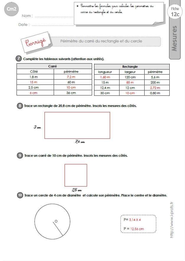 cm2: Exercices Calculer le PERIMETRE du CARRE du RECTANGLE ...