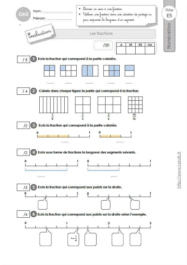 Cm2 evaluation les fractions - Les fractions cm1 exercices a imprimer ...