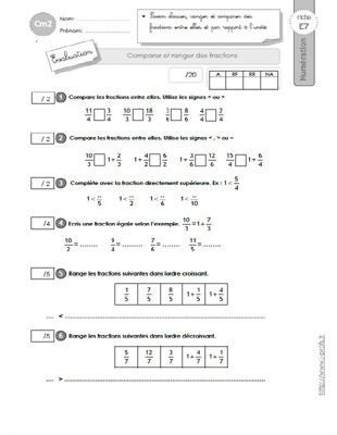 CM2: EVALUATION Comparer,ranger, encadrer les fractions
