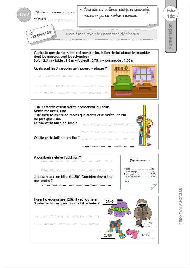 CM2: EXERCICES L'addition et la soustracton decimale