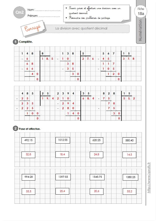 CM2: EXERCICES La division avec quotient décimal