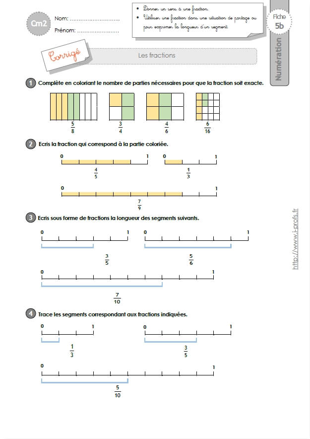 CM2: EXERCICES Les Fractions