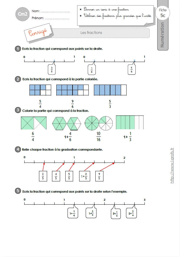 Cm2 Exercices Les Fractions