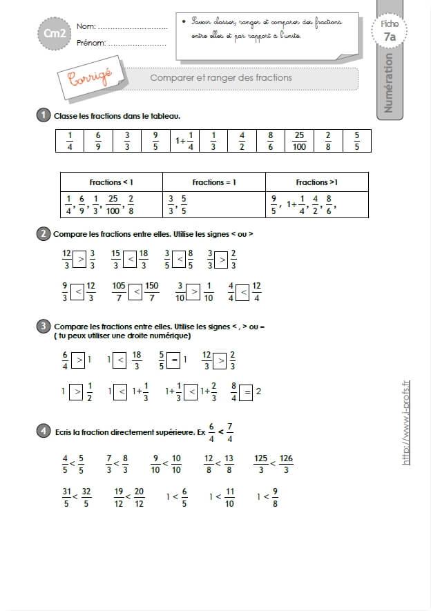 CM2: EXERCICES comparer, ranger et encadrer les fractions