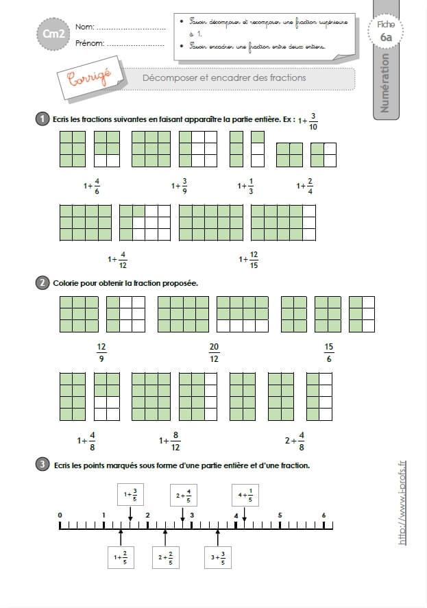 Cm2 exercices d composer les fractions - A portee de maths cm2 en ligne ...