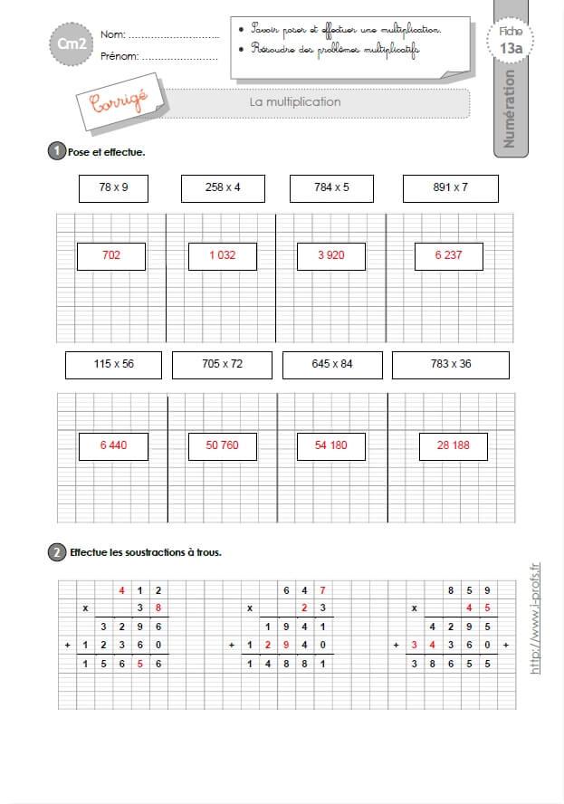 Sayten exercices s ou ss ce2 photographies fiche cp - Exercices tables de multiplication cm2 ...