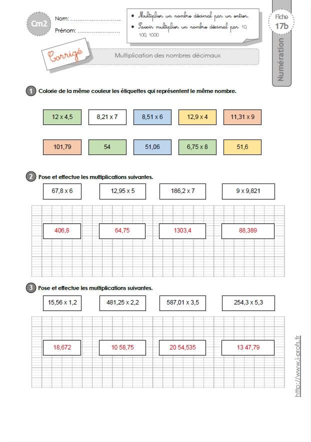 CM2: EXERCICES La multiplication decimale