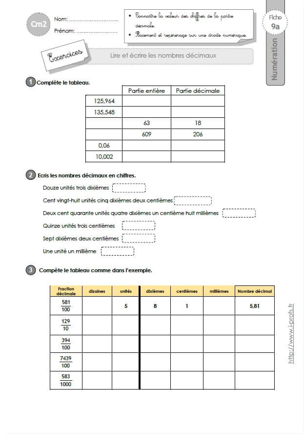 CM2: EXERCICES Lire et écrire les nombres décimaux