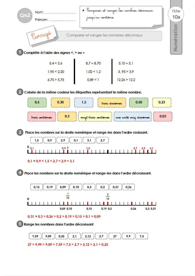 CM2: EXERCICES Comparer et ranger les nombres décimaux