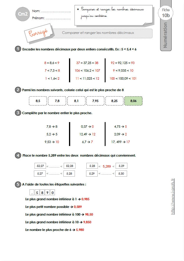 cm2 exercices comparer et ranger les nombres d cimaux. Black Bedroom Furniture Sets. Home Design Ideas