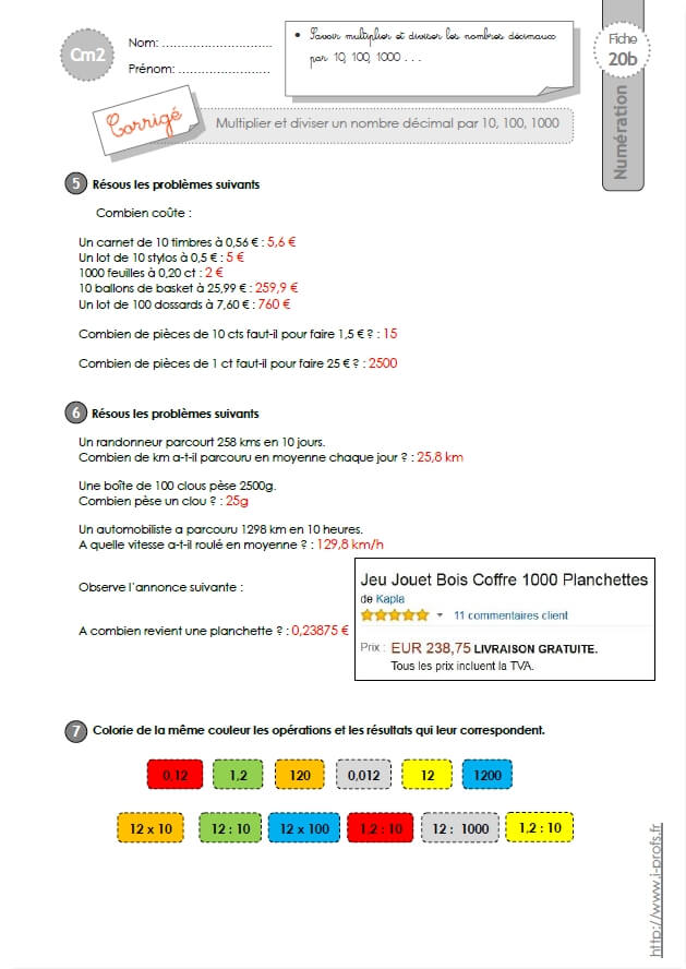 Matou matheux cm2 fractions - Matou matheux table de multiplication ...