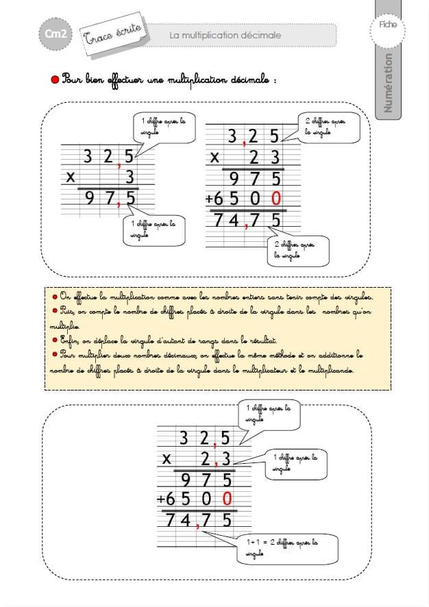 Cm2 trace ecrite la multiplication decimale for Exercice multiplication cm2