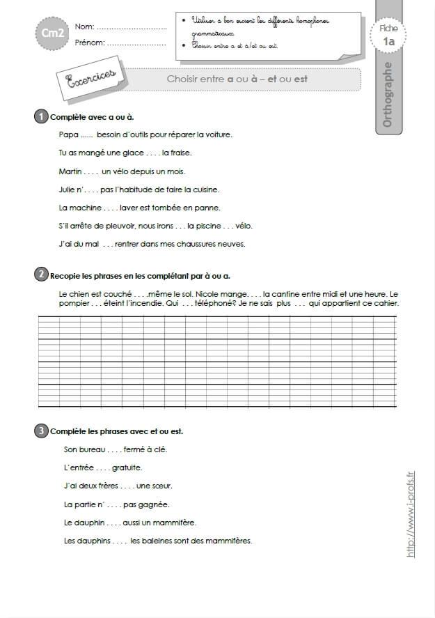 Cm2 orthographe exercices evaluation traces crites fiches i profs - A portee de maths cm2 en ligne ...