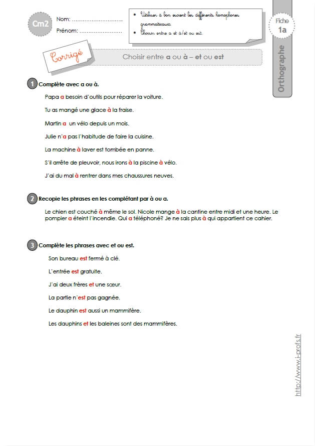 Cm2 Orthographe Exercices Evaluation Traces Ecrites Fiches I Profs