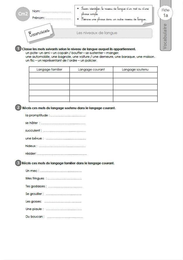 Exercices VOCABULAIRE CM2: les niveaux de langue
