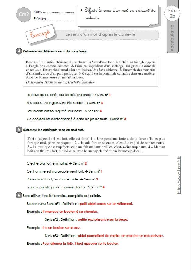 exercices vocabulaire cm2 le sens d u0026 39 un mot selon le contexte