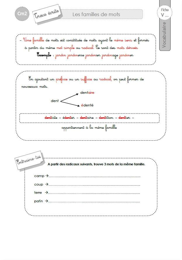 Leçons VOCABULAIRE CM2:Les Familles de mots
