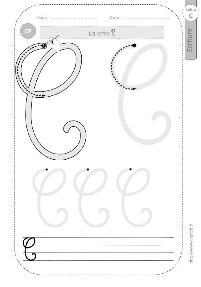 La lettre c majuscule au cp fiches d 39 ecriture mod les d 39 criture cursive - H en majuscule ...