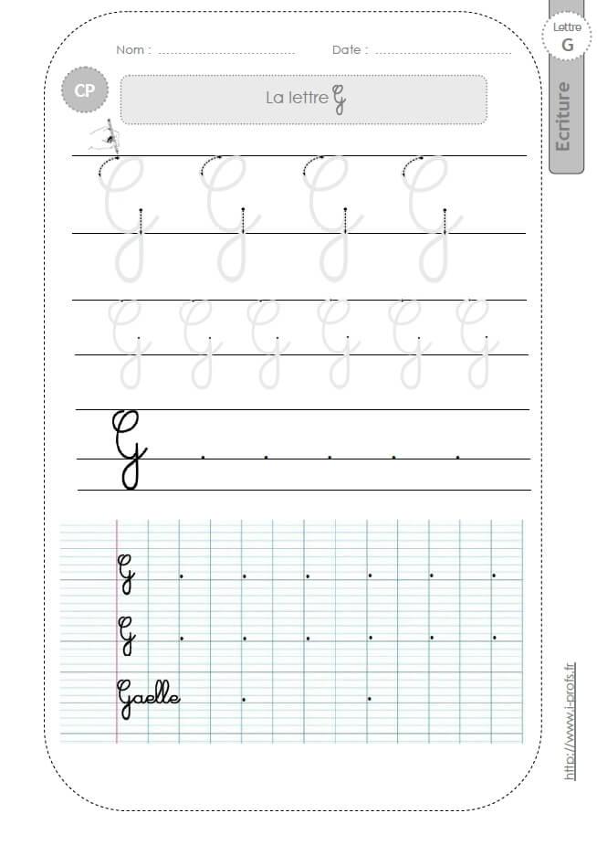 La lettre g majuscule au cp fiches d 39 ecriture mod les d 39 criture cursive - H en majuscule ...