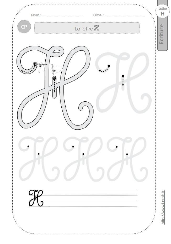 La lettre h majuscule au cp fiches d 39 ecriture mod les d 39 criture cursive - H en majuscule ...