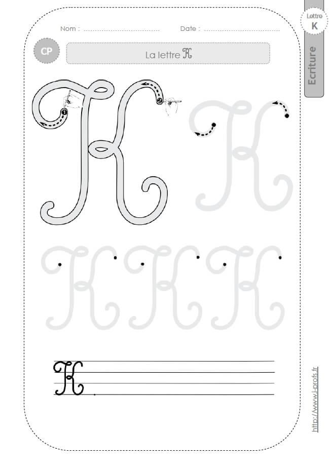La lettre k majuscule au cp fiches d 39 ecriture mod les d 39 criture cursive - Z en majuscule ...