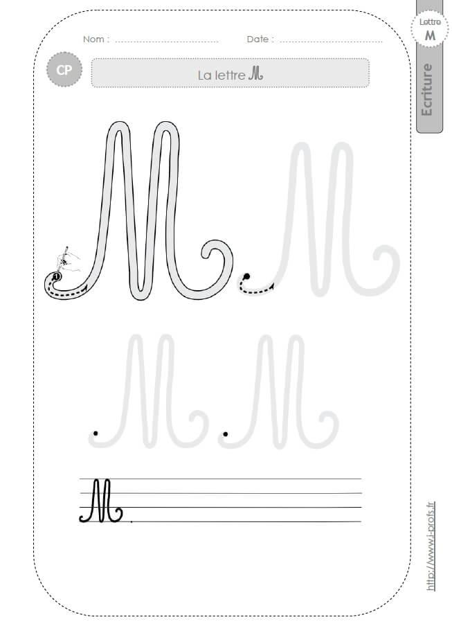 La Lettre M Majuscule Au Cpfiches Decriture Modèles Décriture