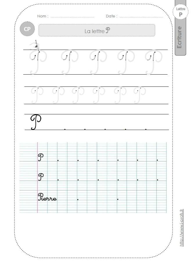 Souvent la lettre P majuscule au CP:FICHES d'ECRITURE. Modèles d'écriture  YS01