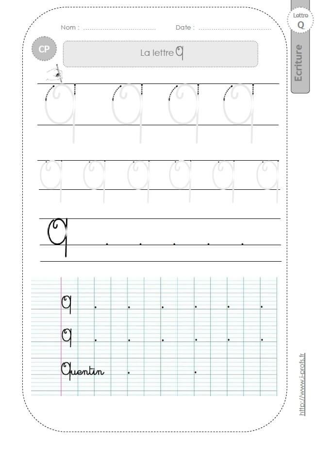 Bien connu la lettre Q majuscule au CP:FICHES d'ECRITURE. Modèles d'écriture  QX48