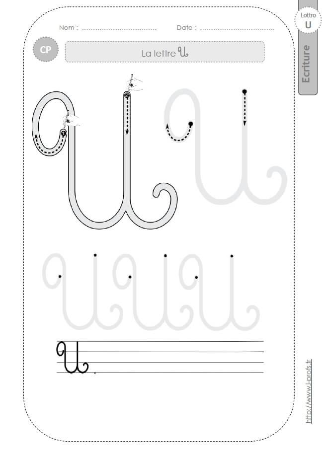 La lettre u majuscule au cp fiches d 39 ecriture mod les d 39 criture cursive - H en majuscule ...