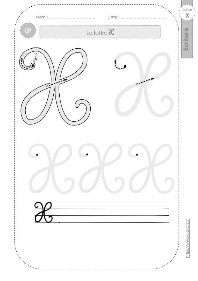 La lettre x majuscule au cp fiches d 39 ecriture mod les d 39 criture cursive - Z en majuscule ...