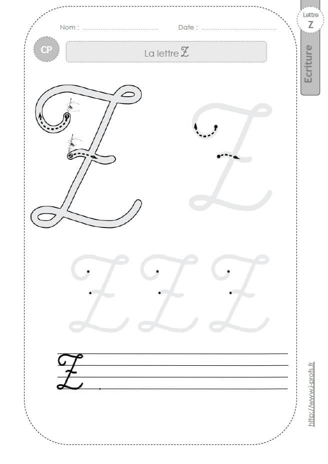 La lettre z majuscule au cp fiches d 39 ecriture mod les d 39 criture cursive - Z en majuscule ...