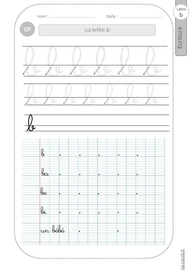 la lettre b minuscule au CP:FICHES d'ECRITURE. Modèles d'écriture cursive