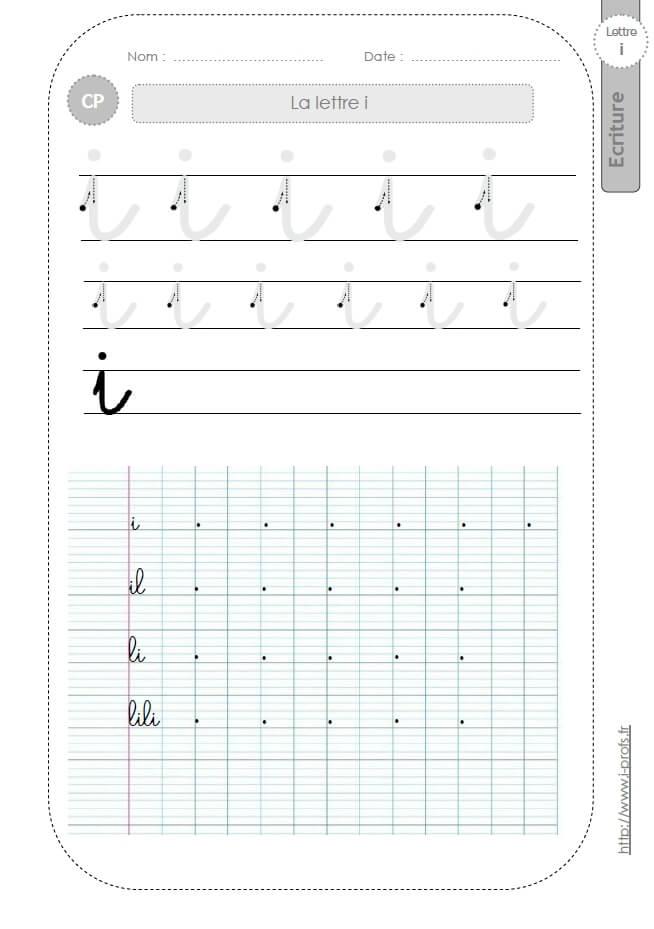 Bien connu la lettre i minuscule au CP:FICHES d'ECRITURE. Modèles d'écriture  QX48