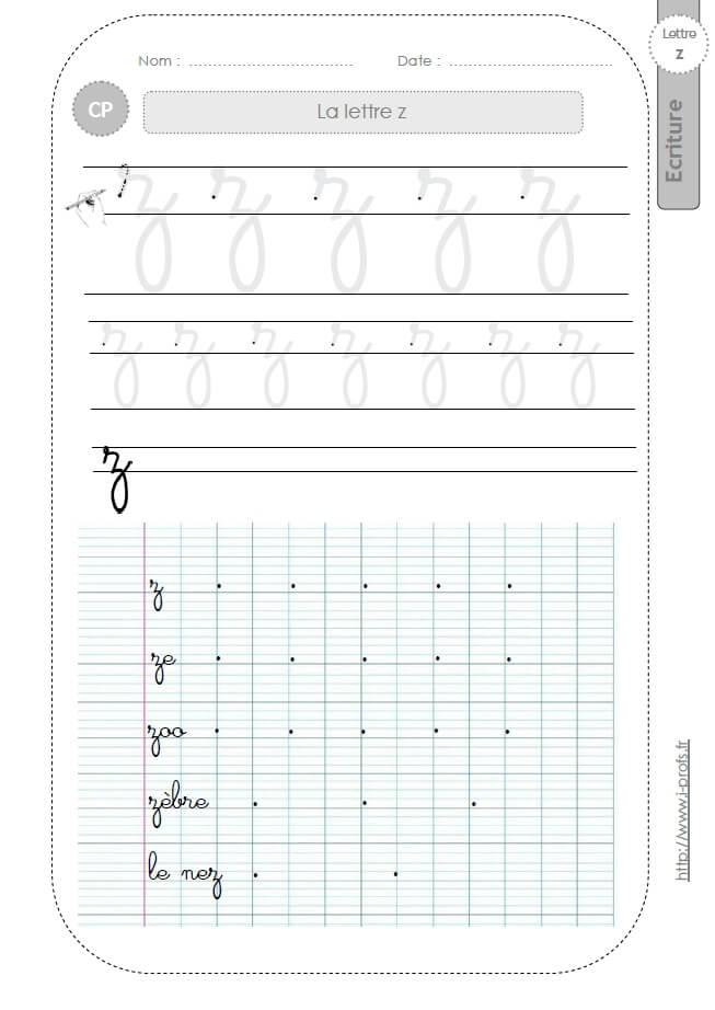 La lettre z minuscule au cp fiches d 39 ecriture mod les d 39 criture cursive - Z en majuscule ...