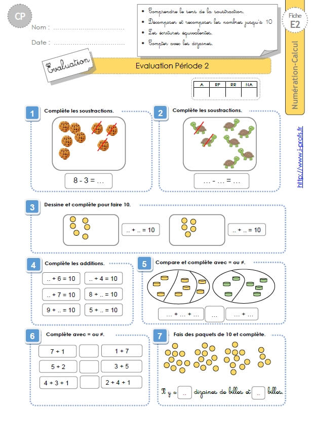 CP:NUMERATION CALCUL.Evaluation période 2