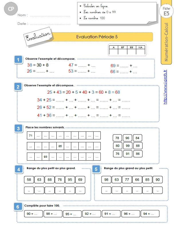 CP:NUMERATION CALCUL.Evaluation période 5