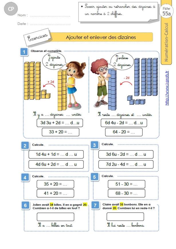 Cp Numeration Calcul Ajouter Et Enlever Des Dizaines