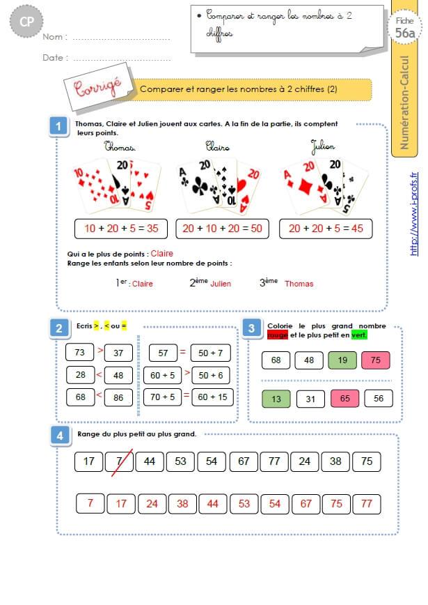 CP:NUMERATION CALCUL.Comparaison et rangement des nombres ...