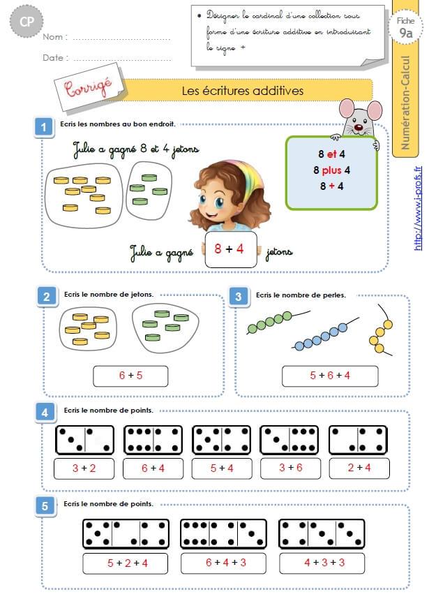 Cp Numeration Calcul Les Ecritures Additives Introduction Du Signe