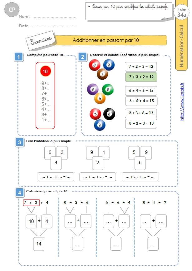 Cp Numeration Calcul Additionner En Passant Par La Dizaine