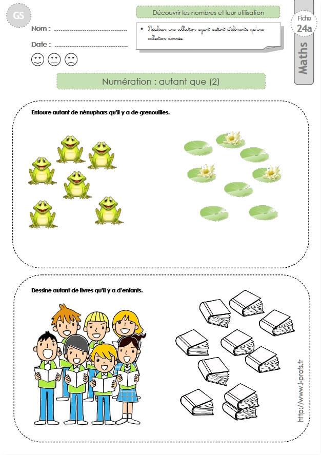 Gs exercices mathematiques autant que 2 en maternelle grande section - Exercice gs a imprimer ...