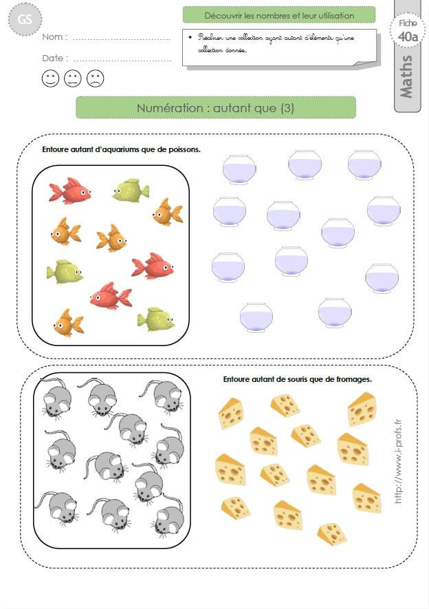 Gs Exercices Mathematiques Autant Que 3 En Maternelle Grande Section