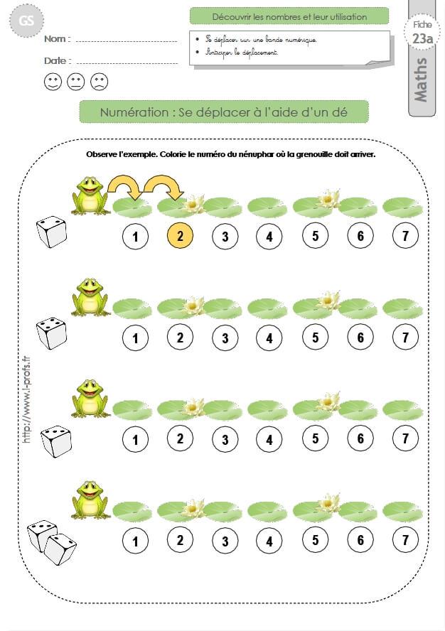 Gs exercices mathematiques se d placer sur une bande num rique en maternelle grande section - Exercice gs a imprimer ...