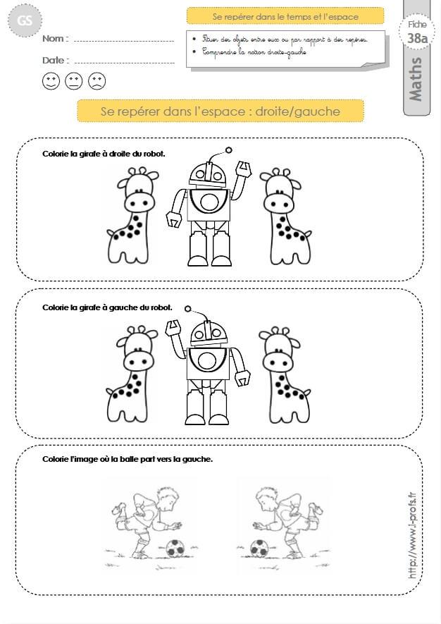 Coloriage Reperage Dans Lespace.Gs Exercices Mathematiques Se Reperer Dans L Espace Droite Gauche