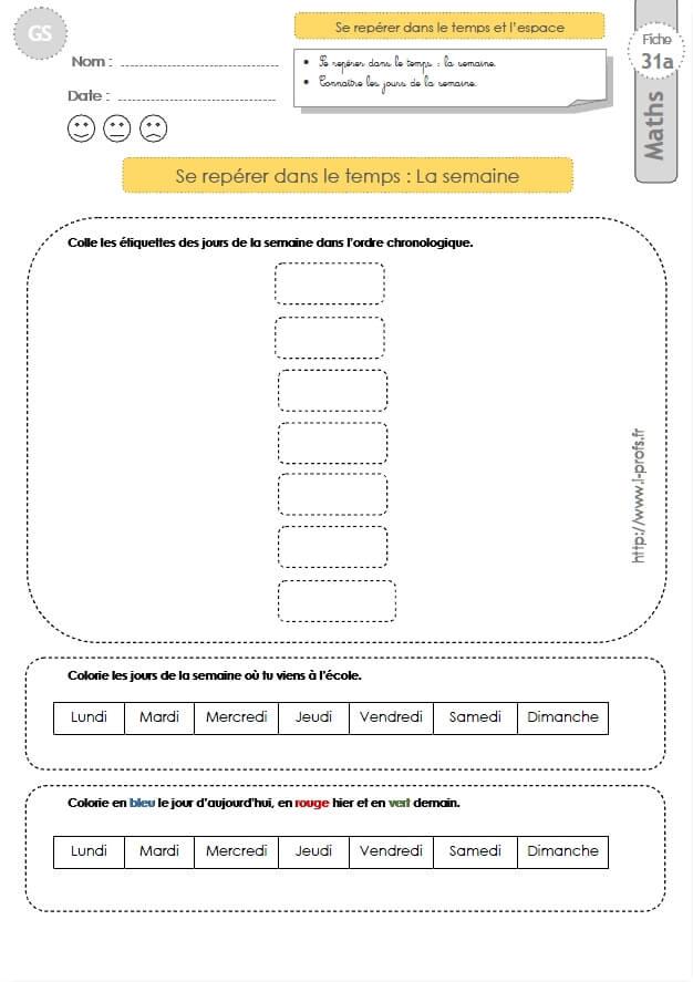Gs Exercices Mathematiques Images Sequentielles La Semaine En Maternelle Grande Section