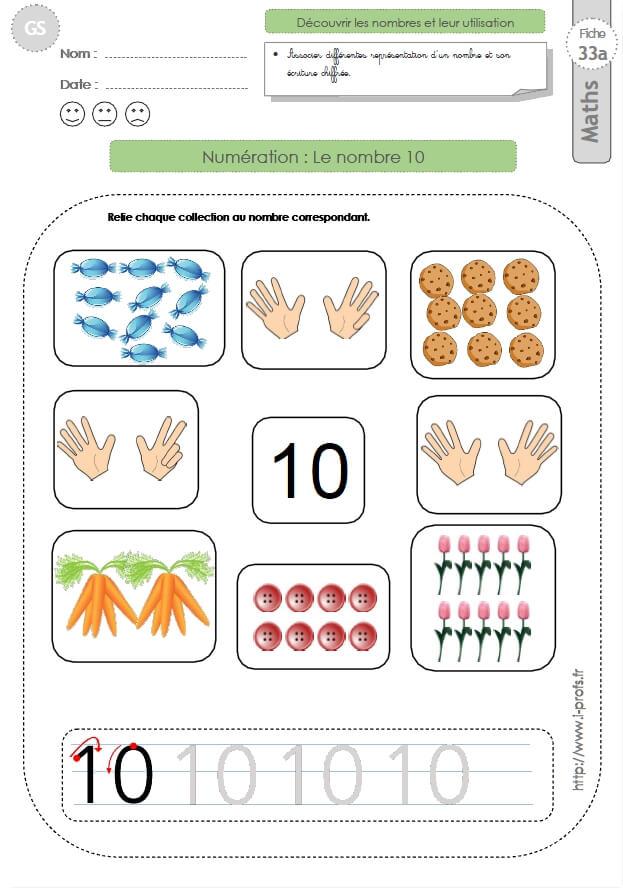 Gs Exercices Mathematiques Le Nombre 10 En Maternelle Grande Section